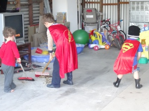 Superhero Sweeping - we had a cleanup of our outdoor play area and the superheroes excelled with sweeping!