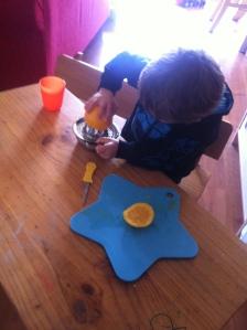 Squeezing orange juice...